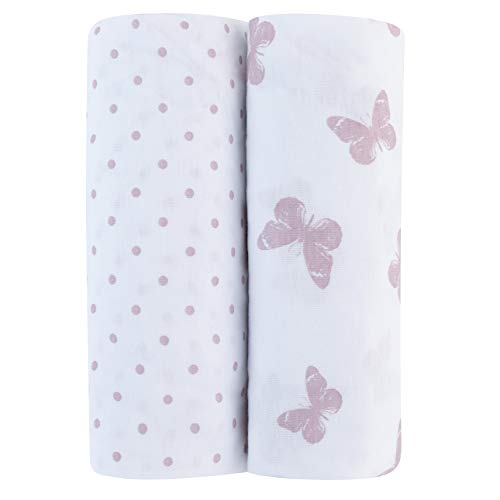 Big Save! Adrienne Vittadini Bambini Jersey Cotton Pack N Play Sheets 2 Pack Lavendar Butterfly & Do...