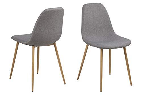 Preisvergleich Produktbild AC Design Furniture Stuhl Linea,  B: 44, 5 x T:56 x H: 84 cm,  Stoff,  Grau