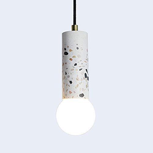 NMDD Vintage Mini Cement Terrazzo Pendelleuchte, Kies einfache Decke Kronleuchter Lampe Leuchte kreative Art-Deco-Kronleuchter für Esszimmer Küche Insel Cafe (Farbe: weiß)