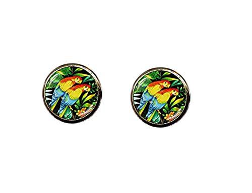 Pendientes de tuerca de loro tropical, joyería de arte tropical, pendientes de flores tropicales, pendientes de loro, pendientes de color tropical, pendientes de verano
