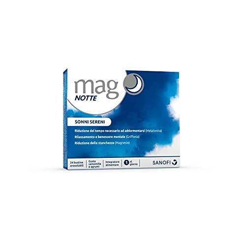 Mag Notte: Integratore a base di Melatonina, Magnesio, Griffonia e Triptofano, ingredienti utili per addormentarsi, favorire il rilassamento e la qualità del sonno 24 bustine monodose orosolubili