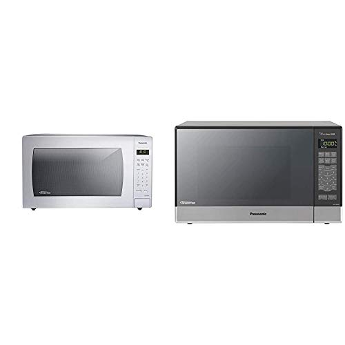 Panasonic NN-SN936W Countertop Microwave, White & Microwave Oven NN-SN686S Stainless Steel Countertop/Built-In with Inverter Technology and Genius Sensor, 1.2 Cubic...