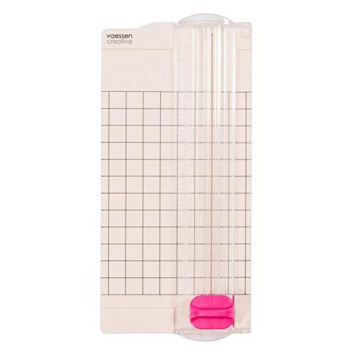 Vaessen Creative 2137-049 Mini Papierschneider Weiß, 6,5 x 15,3 cm, Kleine Papierschneidemaschine mit Angaben in Zentimeter und Zoll zum Basteln mit Papier, 6,5x15,3cm