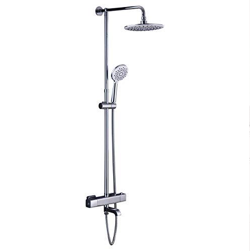 Hausbath Regal Duschsystem Sets mit Thermostat Duschset mit Rainshower Duscharmatur Handbrause Duschkopf Regendusche Dusche Armatur Badewanne Badezimmer (Eckig Thermostat mit Wasserhahn)