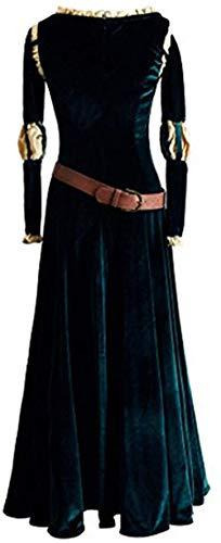 TYNS Disfraz de princesa de Halloween largo para mujer, color verde profundo-beige