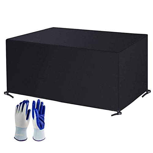 Apodis Funda Mesa Jardín Funda Protectora Muebles Patio Impermeable Terraza Tela Oxford Resistente al Desgarro Revestimiento de PVC, Resistente al Viento/UV, 270×180×89cm Negro