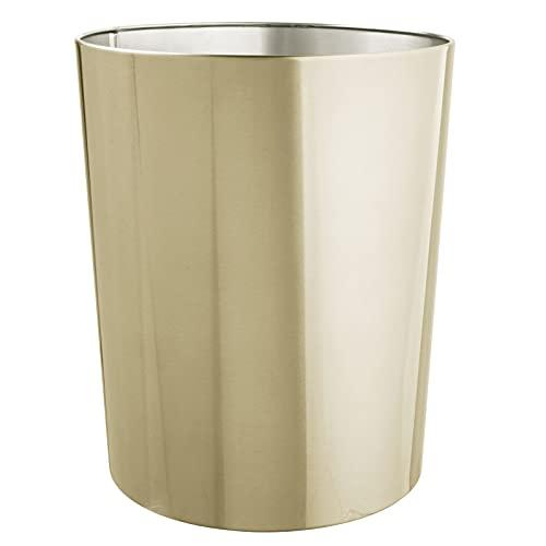 mDesign Papelera de oficina redonda – Papelera metálica compacta y espaciosa para baño, cocina u oficina – Cubo de basura de acero inoxidable – latón