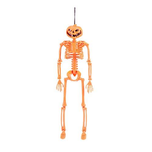 AmosfunHalloween simulierte Skelett Horror Kürbiskopf Knochen lustige Plastik Foto Requisiten Party liefert mit hängendem Seil (Orange)