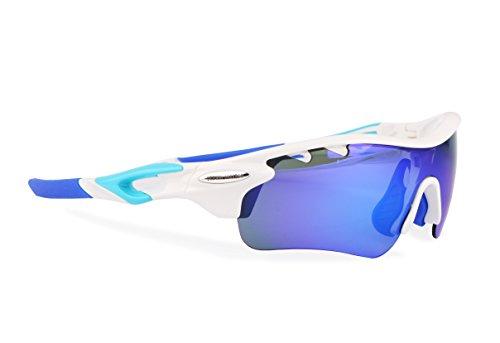 Gafas ciclismo polarizadas con 5 lentes intercambiables UV 400. Gafas deportivas, Running trail running, ciclismo BTT, para Hombre y Mujer (Blanco)