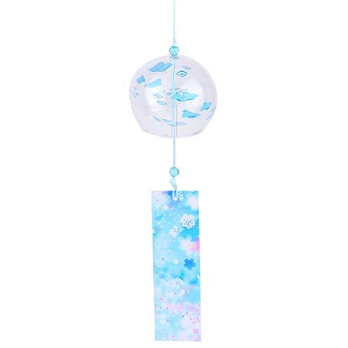 BESPORTBLE Glas Japanische Windspiel Handgemachte Hängende Windglocke Outdoor Indoor Geburtstagsgeschenk für Freunde Liebhaber Eltern (Vogel)