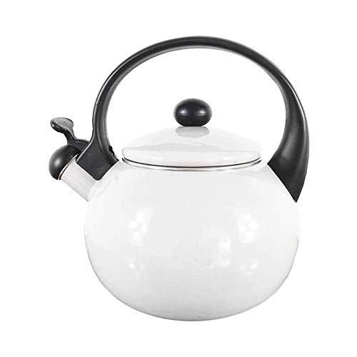 ASDFDG Estufa Top Tetera Tetera de Esmalte Retro con Mango Resistente al Calor Adecuado para Todas Las Fuentes de Calor Cocina de inducción de la Estufa de Gas Kettle Universal (Color : White)