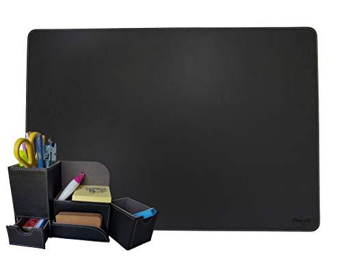 SET Organizer scrivania e Sottomano rigido in Simil-Pelle PU, Porta-penne con Porta smartphone e Porta-oggetti, nero e grigio, OttoFoi Italia