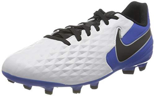 Nike Jr. Legend 8 Academy FG/MG, Football Shoe, White/Black-Hyper Royal-Metallic Silver, 30 EU