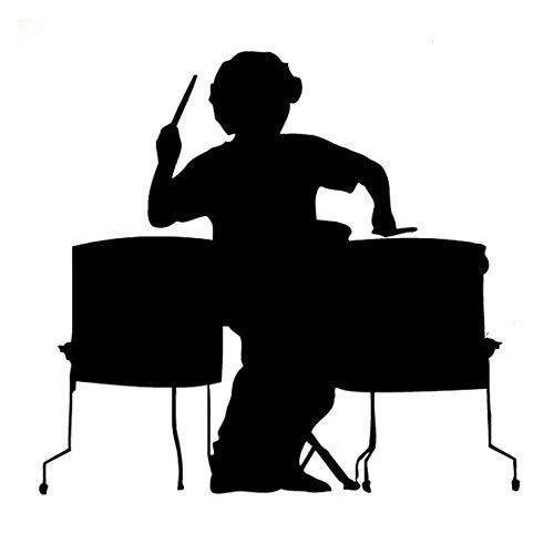 FreshZHY 2 Stück, 18x17CMcar Vinyl Tattoos , Musik und Schlagzeug Silhouette Schwarz wasserdichte reflektierende Aufkleber für Verschiedene Automodelle