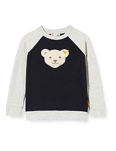 Steiff Jungen mit süßer Teddybärapplikation Sweatshirt, Navy, 116
