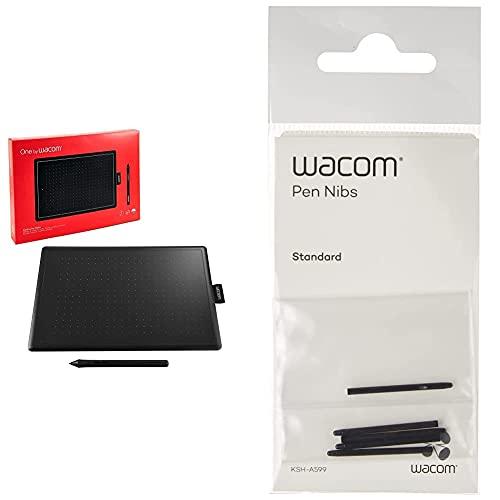 Wacom One by Small - Tableta Gráfica con Lápiz Digital Sensible A La Presión + Ack-20001 - Punta De Bolígrafo Digital (Pack De 5 Unidades)