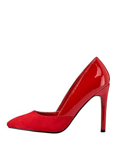 Marypaz, Zapato de salón con tacón de Aguja Combinado para Mujer Rojo...