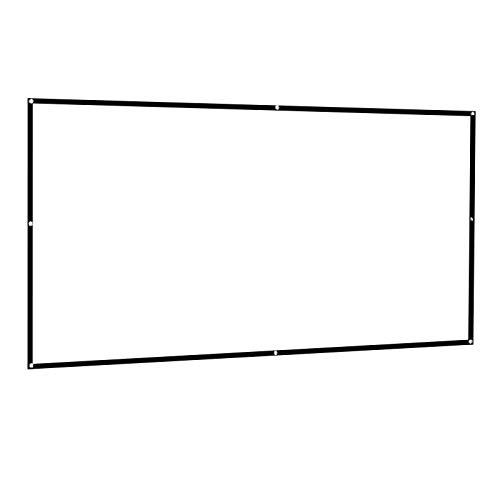 Pantalla De Proyección, 4K HD Antiarrugas Plegable Portátil Pantalla De Proyector Cortina De Plástico Blanco Tela Proyector con Ganchos para Cine En Casa Al Aire Libre En Interiores,4:3,72inch