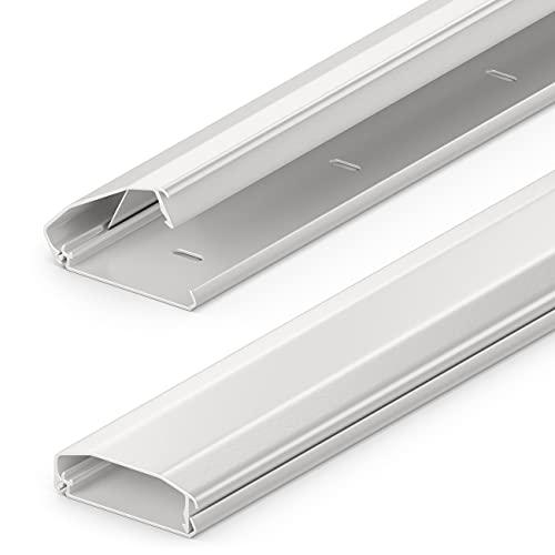 deleyCON Canaleta Universal para Cables y Líneas Aluminio de Primera Calidad Longitud 100cm Ancho 6cm Altura 2cm - Blanco