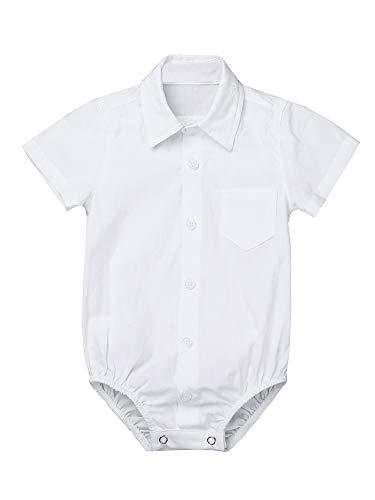 iEFiEL Baby Jungen Kurzarmbody mit Kragen Baumwolle Hemd-Body Shirt Festliche Kleidung Gentleman Outfits Taufe Hochzeit Party Weiß 92
