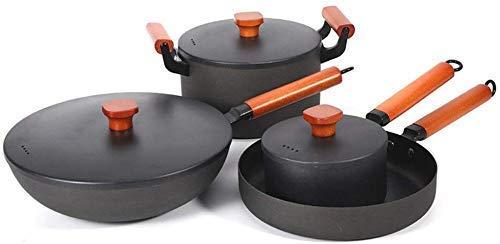 GAXQFEI Wok Pan de Cuatro Piezas Vintage Forged Forged Wok Wok Cocina de Cocina de Cocina de Cocina No Cubierta de Cocina de Pulcula No Pequeña Freaje para Cocinar,Negro,Cubierta de Acero