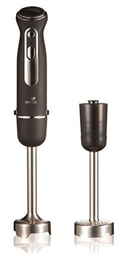 Senya Plongeant avec Pied Presse purée mixeur Soupe 600W Finition Soft Touch, SYCP-M046, Acier Inoxydable, Noir INOX