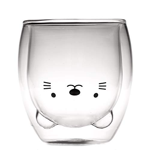 Coffee Cup, Tea Cup, Milk Cup, Double Wall Glass, Cat, Cute Gift, 8.4 oz, Office and Personal Cup, Birthday Present (Cat)