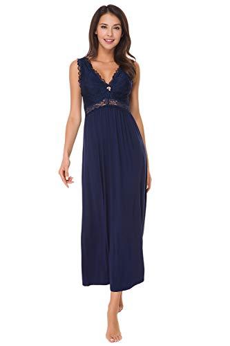 Alcea Rosea Damen Schlafwäsche Nachthemd mit Spitze V Ausschnitt ärmellos Elegante Nachtwäsche Negligé (Marine, XL)