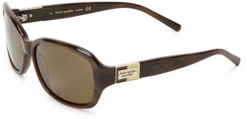 Kate Spade New York Women's Annika Polarized Rectangular Sunglasses, Brown Horn, 57 mm