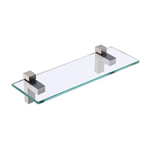 KES Glasregal Duschregal Duschablage Wandregal 8mm Badzimmer Regal Glas Dusche mit Glashalter Halterung Wandmontage Grbürstet Nickel, BGS3201-2
