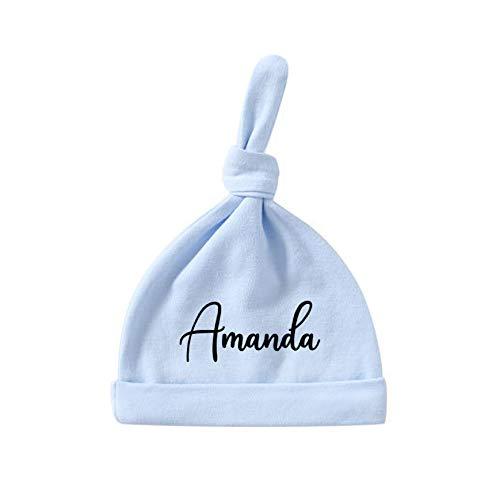 Gorro de bebé personalizado con texto de nombre personalizado monograma para recién nacido, regalo de fiesta de primer cumpleaños (azul)