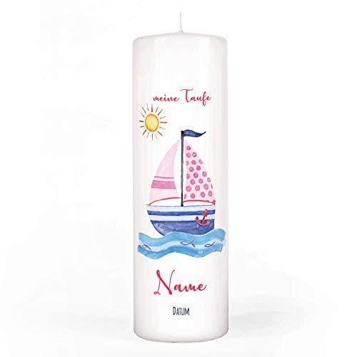 Striefchen® Taufkerze für Mädchen mit Namen u. Taufdatum sowie eigenen Taufspruch 8x25 cm - Motiv Segelschiff