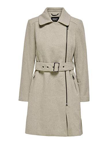 Only ONLOLIVIA Long Biker Wool Coat OTW Abrigo de Mezcla de Lana, Chateau Gray, L para Mujer
