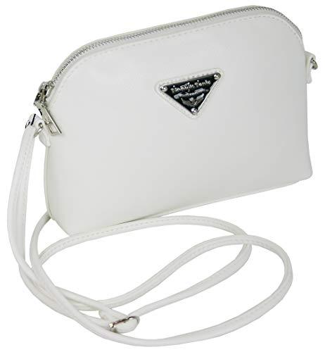 J JONES JENNIFER JONES kleine elegante Damen Handtasche Schultertasche für Frauen in 4 Farben (weiss)