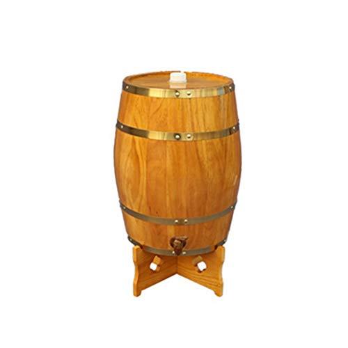 Ann-Portaghiaccio Botte di Rovere in Legno di Vino Botte di Rovere 25L, Distributore di Vino in Botte di Legno per Conservare Gli Alcolici di Tequila al Whisky (Color : Yellow, Size : 25L)