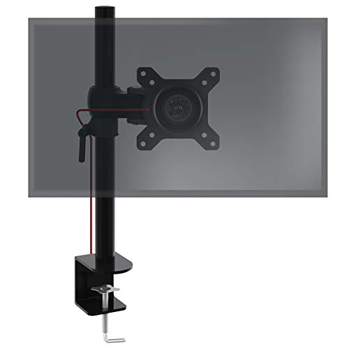 Duronic Single Monitor Arm Stand DM351X1 | Desk Mount | Aluminium | Height Adjustable | for One 13-27 Inch LED LCD Screen | VESA 75/100 | 17.6lbs Capacity | Tilt +15°/-15°, Swivel 180°, Rotate 360