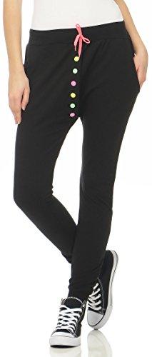 Malito Damen Jogginghose mit bunten Knöpfen | Sporthose einfarbig | Baggy zum Tanzen | Sweatpants - Trainingshose 2659 (schwarz, XS)