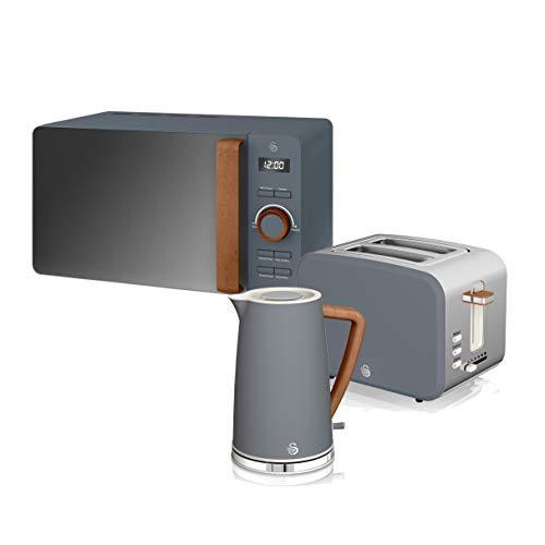 Swan Nordic Frühstücksset, Wasserkocher, 1,7 l, 2200 W, Breitschlitz-Toaster, 2 Scheiben, digitale Mikrowelle 20 l, modernes Design, Holzoptik, grau