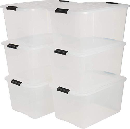 Iris Top Box TB-45 Lote de 6 Cajas apilables de Almacenamiento con Cierre de Clip, Plã¡Stico, 45 L, 57.5 x 39 x 30.5 cm, 6 Unidades