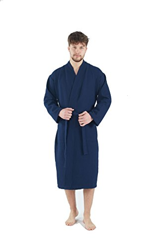 Bagno Milano Mens Waffle-Knit Bathrobe – Lightweight Hotel Spa Robe, Made in Turkey, Navy M-L