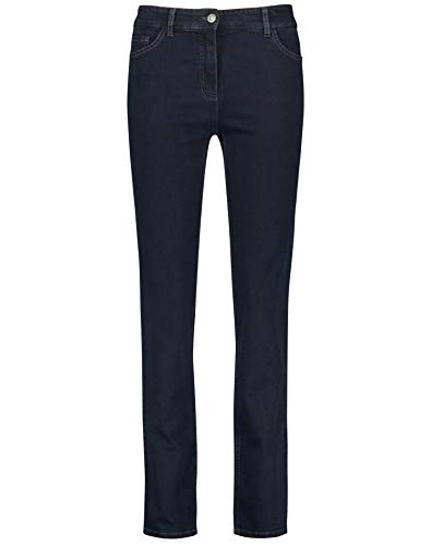 Gerry Weber Damen 5-Pocket Jeans Straight Fit Kurzgröße Klassische Passform Dark Blue Denim 40S