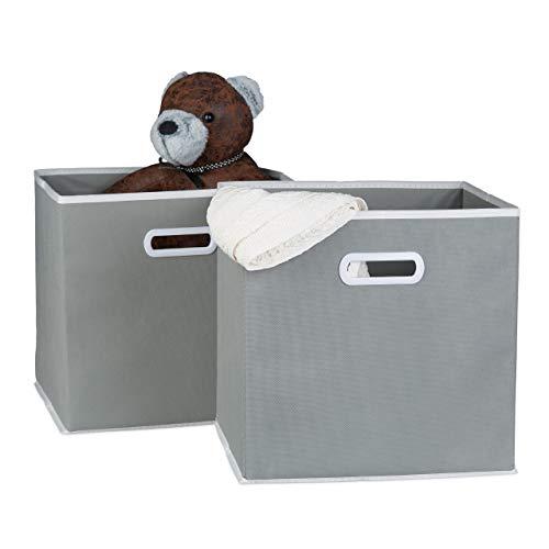 Relaxdays Faltbox 2er Set, mit Griff, quadratisch, 30 x 30 cm, Stoff Aufbewahrungsbox ohne Deckel, Regalbox, grau
