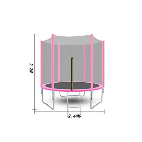 JPVGIA Outdoor trampoline Trampoline With Safety Net Rain Cover Green Yellow Blue Pink 6 Feet / 8 Feet (Color : Pink, Size : 1.83 meters)