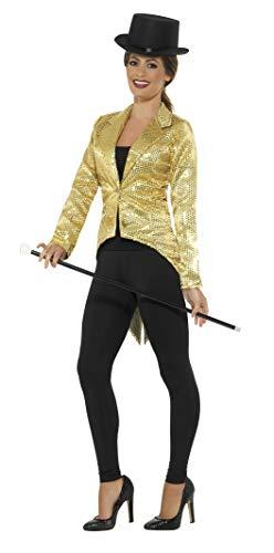 Smiffys Damen Pailletten Frack Jacke, Größe: 44-46, Gold, 21229