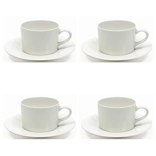 Maxwell Williams White Basics - Tazza e piattino, in porcellana, colore: Bianco, bianco, Taglia standard