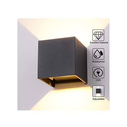 12W LED Wandleuchte Aussen Wandlampe Außenleuchte Wasserdicht Mit Einstellbar Abstrahlwinkel Außenlampe IP65 LED Außenwandleuchte Wandbeleuchtung Innen & Außen Warmweiß -Anthrazit