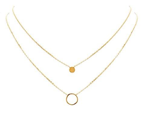 SMERALDO Vergoldete Damen Halskette mehrreihig   Doppelkette mit Kreis und Plättchen   18kt vergoldet - Länge: 45/40 cm