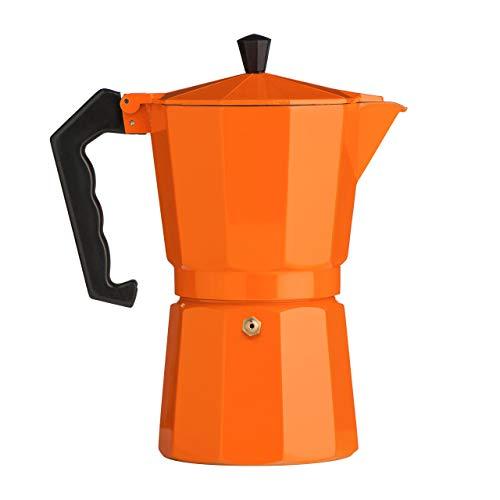 Premier Housewares Orange Espresso Maker 450 ML Coffee Percolator Coffee Kettle Aluminium Expresso Coffee Makers Three Cup Espresso Maker Stove Top 23X11X11