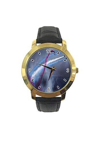 Reloj de pulsera analógico de cuarzo con diseño de nubes hacia el plano derecho, color morado y azul