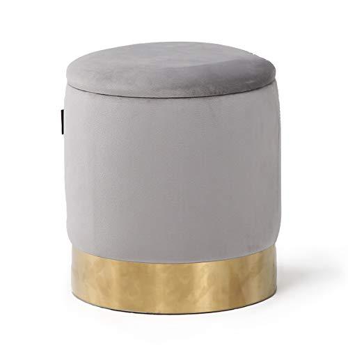 N\C Sitzhocker Mit Stauraum Für Wohnzimmer Schlafzimmer Flur Und Arderoben Schminktisch Pouf Hocker Samt Fusshocker Grey Bis 120 Kg D41.5 * 45CM